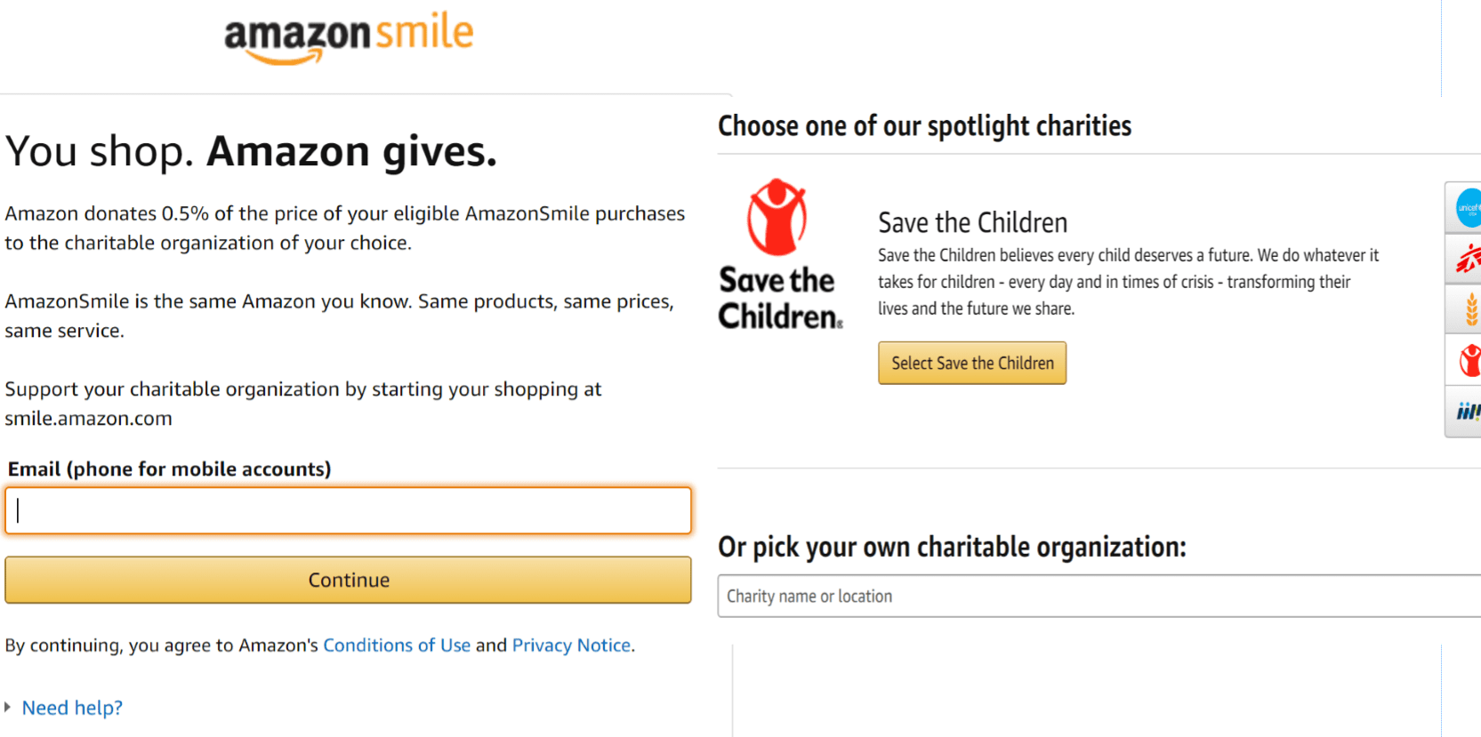 "If you have an Amazon account already, sign in at http://smile.amazon.com If you do not have an account, then click ""New to Amazon"" and create an account."